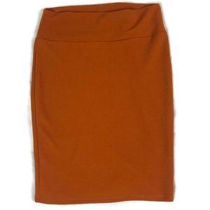 Lularoe Orange Cassie Pencil Straight Skirt Size M